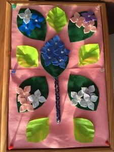 デイサービス龍宮城の手作りの素敵な紫陽花